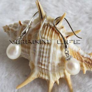 8.0*9.0mm White Freshwater Pearl earrings Dangle Earrings D17S U