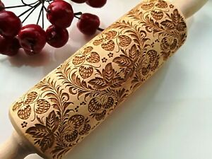 Strawberry Carved Engraved Rolling Pin Embossed Dough Roller Rolling Oma Marta
