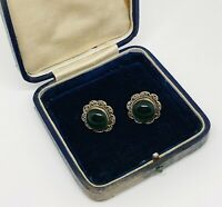 Vintage Silver Tone Filigree Emerald Glass Cabochon Screw Back Retro Earrings