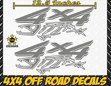 4x4 Truck Bed Decal Set METALLlC SILVER for Ford F150 Super Duty F-250 Salt Fish