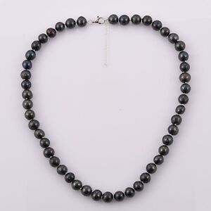 """PEACOCK FRESHWATER PEARL Necklace with 925 Silver extender lock 20""""+2""""  8-9 mm"""