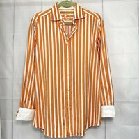 Bugatchi L Men's Shirt Shaped Fit Orange White Striped Flip Cuff #J