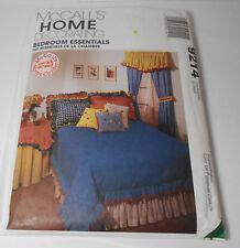 McCall 9214 Bedroom Essentials Sewing Pattern Pillows Shams Duvet Drapes Valance
