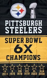 Pittsburgh Steelers NFL Super Bowl Championship Flag 3x5 ft Sports Banner New