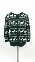 Forever 21 Womens Ugly Christmas Sweater Size S Deer Reindeer Print Cardigan
