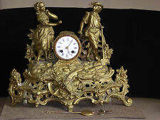 Antique French  Bronze Figural mantel Clock ca 1860
