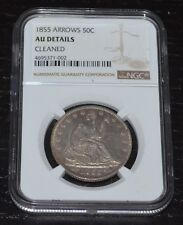 1855 50C Liberty Seated Silver Half Dollar Graded by NGC as AU Details