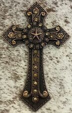 Wall Hanging Cross W/ Star Concho & Crystals Copper Color Metal