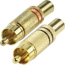 PRO Gold-Rosso & Nero RCA/Fono Spina Maschio Connettori Audio-Cavo coassiale di saldatura