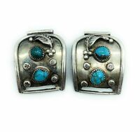 Vintage 1960's Navajo Sterling Silver & Royston Turquoise Watch Tips