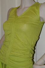 NEW Oscar de la Renta Cashmere Silk Ruched Tank Top Sweater Green XS Small