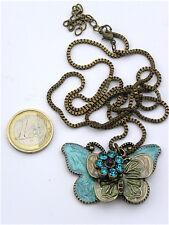 collier pendentif papillon pierres émail cadeau offrir