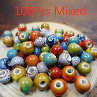 100pcs Vintage Loose Ceramic Porcelain Beads 6mm Charms for DIY Jewelry Making