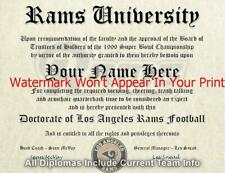 Los Angeles Rams Nfl #1 Fan Certificate Man Cave Diploma Perfect Gift