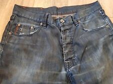 Hugo Boss Man's Orange Regular Fit Straight Distressed Jeans Button Fly W30 L33