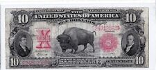 $10 1901 BISON Buffalo Legal Tender Large Horse Blanket FR121 Very Nice Note!