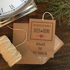 Rosso e Marrone Kraft carta fatto a mano inviti di nozze, stile rustico vintage