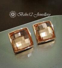 Brown/Grey Diamond Shape Crystal Stud Earring/RGE644/637