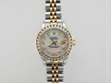 Rolex Ladys Steel Gold Datejust 79173 Mother Of Pearl DIAMOND BEZEL WATCH Jubile