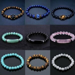 Tiger Eye Natural Stone Beaded Bracelet Women Men Elasticity Bangle Jewelry Gift
