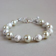 Silver stardust ivory cream pearls beaded bracelet party wedding bridesmaid gift