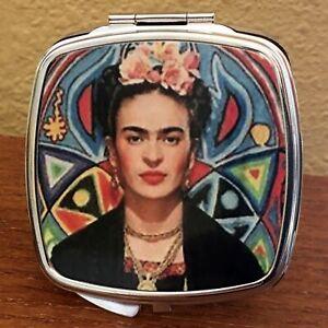 Compact Pocket/Makeup Mirror, Frida Kahlo, Silvertone Square w/mesh bag, Gift