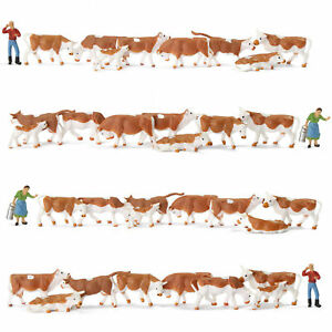36pcs Model Trains Painted Farm Animals HO Scale 1:87 Brown Cows Cattle Shepherd
