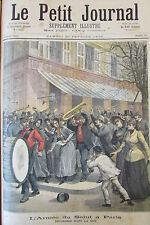 L ARMEE DU SALUT à PARIS DESORDRES DANS LA RUE  GRAVURE PETIT JOURNAL 1892