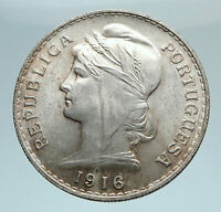1916 PORTUGAL Antique BIG Silver 50 Centavos PORTUGUESE Coin  w LIBERTY i74794