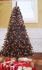 6.5ft Pre Lit Black Madison Pine Holiday Christmas Tree Halloween Gothic Raiders