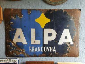 Large Antique Enamel Advertising Sign Alpa Francovka Medicinal Alcohol Tincture