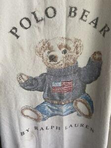 "Vintage Polo Ralph Lauren Sitting Bear Beach Towel American Flag Cotton 62""x 33"""