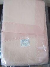 Vtg Blanket Cloth Crib Blanket Pink Acrylic Satin Binding USA Made New