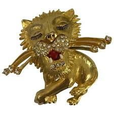 Vintage Lion Brooch Pin Gold Tone and Rhinestone Costume Jewelry