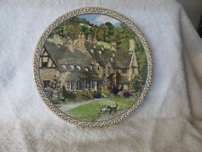 1991 Royal Worcester Villages #3 PLATE Sue Scullard Broadway Cats Thatched Roofs