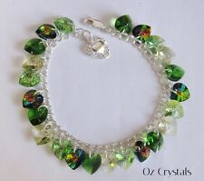 Green Shades Heart Charm Bracelet made with Swarovski & Solid Sterling Silver