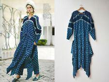 CHLOE Blue Medallion Plisse Silk Long Sleeve Boho Dress FR36 Fits FR38-40 $4,995