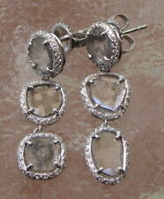 14K WHITE GOLD NATURAL SLICE DIAMOND DROP EARRINGS  2.75 CT TOTAL  3.24 CARATS