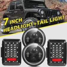 "7"" inch Round LED Headlight DRL Angel Eye + Rear Tail Light for Jeep Wrangler JK"