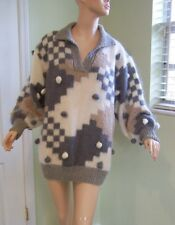 Vintage Fia Italy Mohair Blend Sweater Big Puffy Sleeves And Pom Poms M L Large
