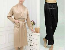 2-piece Set Mens Satin Silk Pajama Pants + Kimomo Robe Gown US California Seller