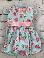 Vintage Baby Girl's Bubble Dress Plum Pudding Blue and Pink Roses 18 Months