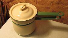Old Cream & Green Enamelware Double Boiler
