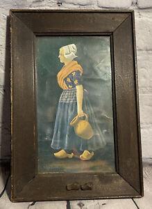 Antique Ullman Framed Dutch Girl In Wooden Shoes Primitive Carved Frame