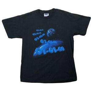 Vtg Y2K 2000 Promo Shirt Sz Large 01-01-00 Black Blue Planets Short Sleeve Tee