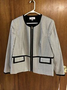 Calvin Klein Jacket Women 18W - Off White & Black - New With Tags