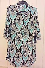 SKYE Womens Button Front Long FLOWING Blouse Turquoise Black Size Med NWT $58