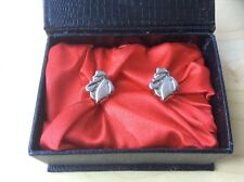 COURVOISIER Silver Tone Cufflinks in Box - Napoleon Brandy Logo