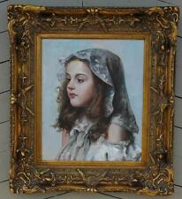 Unsigned Oil of Canvas of a Beautiful Young Girl in a Gorgeous Elaborate Frame