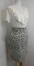 BNWT Peter Jensen leopard print pencil skirt XS 6 NEW high waist pockets